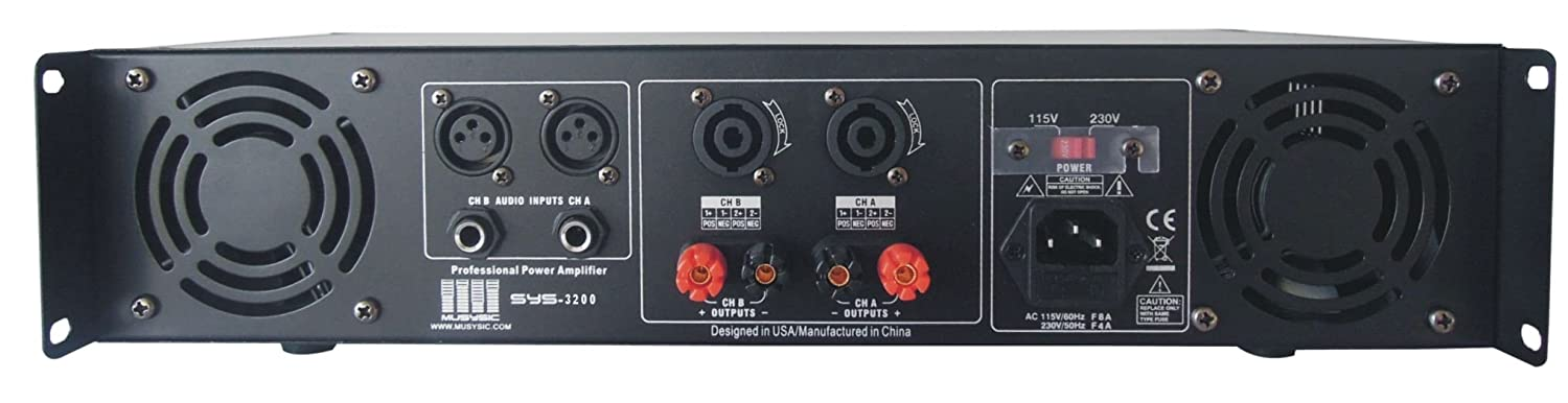 Amazon.com: MUSYSIC 2 Channel 3200 Watts DJ PAProfessional Power Amplifier 2U Rack mount SYS-3200: Musical Instruments