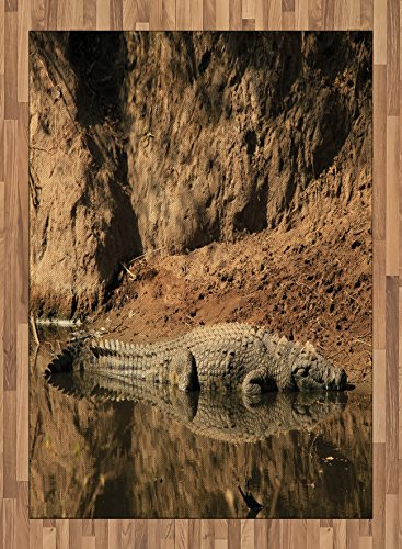 Africa Area Rug by Ambesonne, Nile Crocodile Swimming in the River Rock Cliffs Tanzania Hunter Geography Print, Flat Woven Accent Rug for Living Room Bedroom Dining Room, 5.2 x 7.5 FT, Brown Tan by Ambesonne