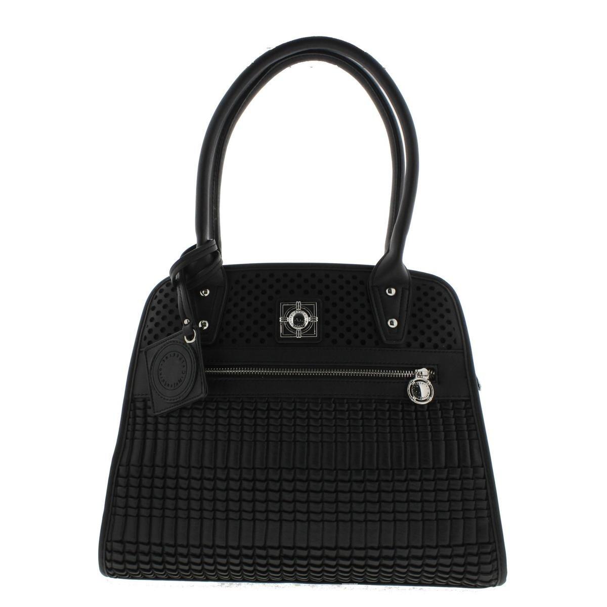 Catherine Malandrino Womens Matilda Faux Leather Tote Handbag Black Large