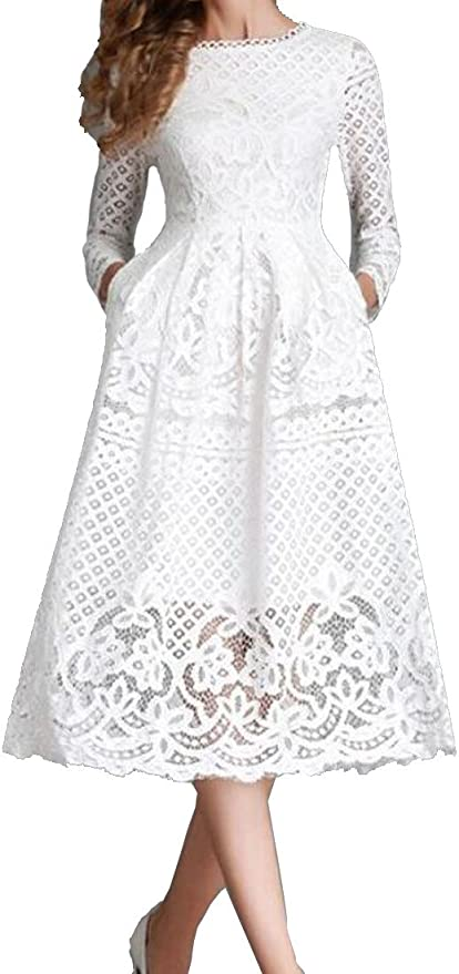C/&H Womens Lace Hollow Fashion Long Sleeve A-line Pure Color Midi Dress