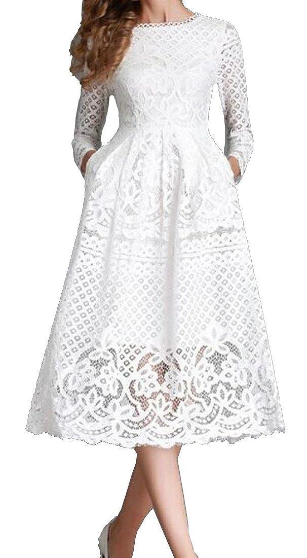 Pluszing Womens Long Sleeve Lace Hollow Pure Color A-line Elegant Midi Dress