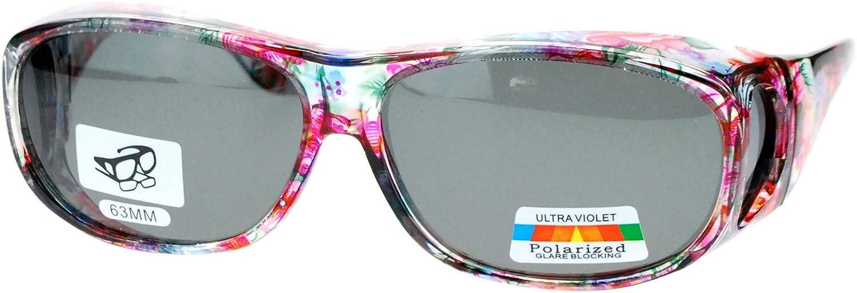 Womens Floral Print Antiglare Polarized No Glare 60mm Fitover Sunglasses