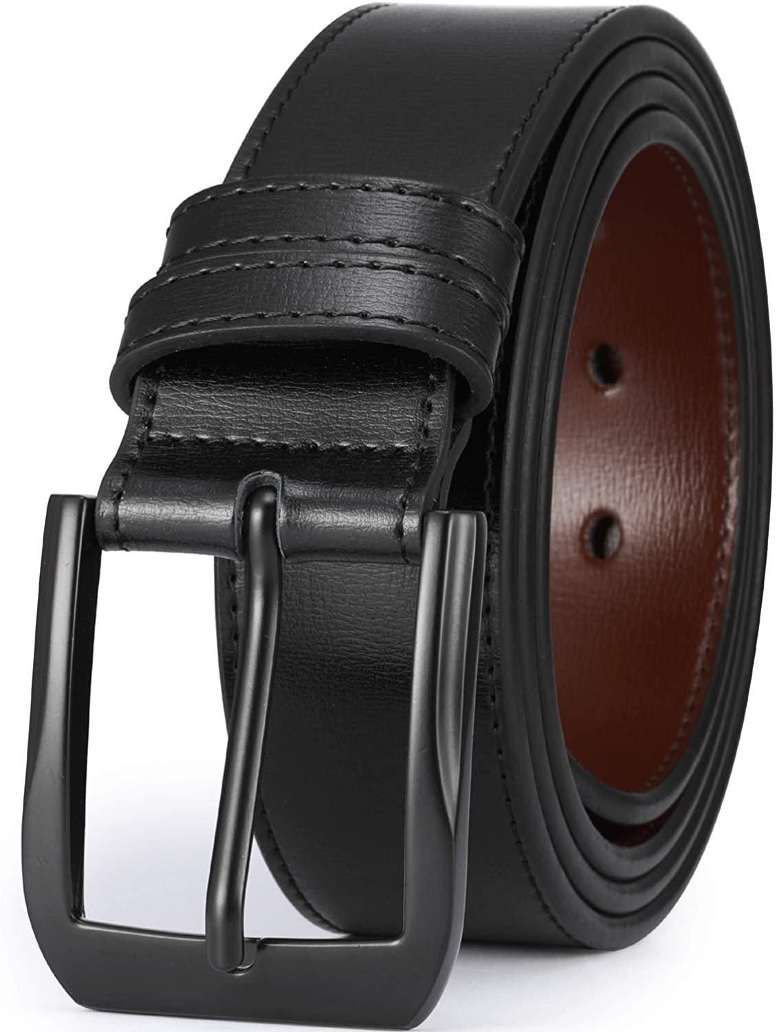 """Beltox Fine Men's Casual Leather Jeans Belts 1 1/2"""" Wide 4MM Thick Alloy Prong Buckle Work Dress Belt for Men at  Men's Clothing store"""