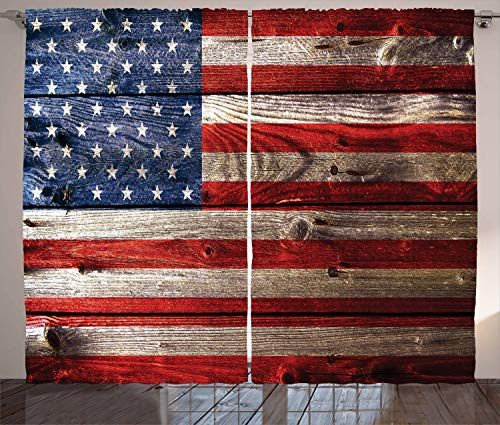 Ambesonne USA Curtains, Fourth of July Independence Day Weathered Retro Wood Wall Looking Country Emblem, Living Room Bedroom Window Drapes 2 Panel Set, 108 W X 90 L Inches, Red Blue Tan