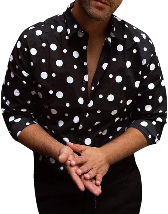 Shirt for Men F/_Gotal Mens T-Shirts Fashion Short Sleeve Baggy Striped Print Button Retro Tees Blouse Tops