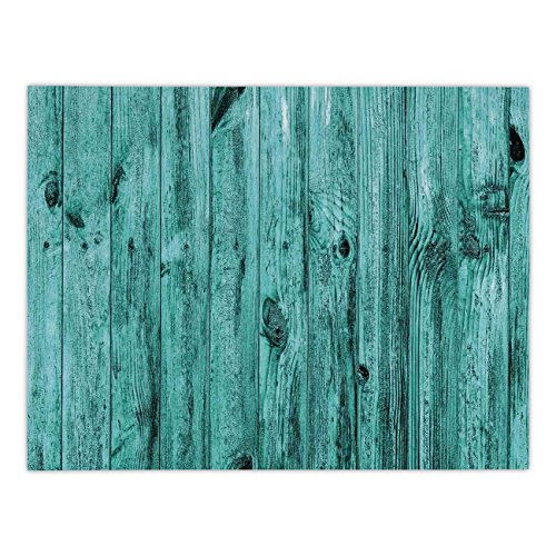 Polyester Rectangular Tablecloth,Turquoise Decor,Wall of Turquoise Wooden Texture Background Antique Timber Furniture Artful Print,Blue,Dining Room Kitchen Picnic Table Cloth Cover,for Outdoor Indoor
