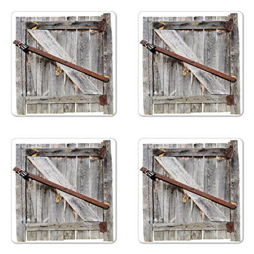 Ambesonne Rustic Coaster Set of Four, Aged Wood