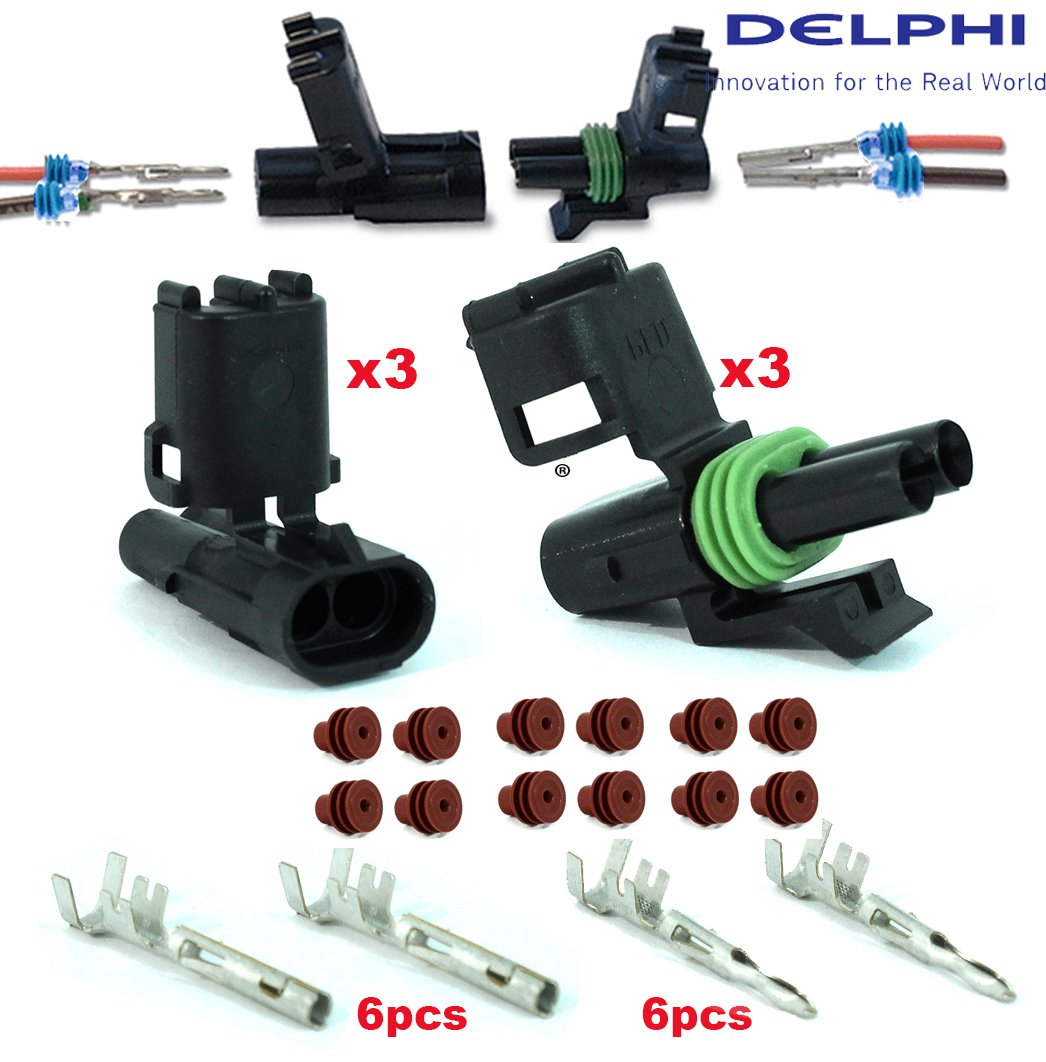 Pack of 3 Set 2 Circuits Delphi Packard Terminal Kit 18 20 GA Weatherpack Delphi Connection Systems Waterproof