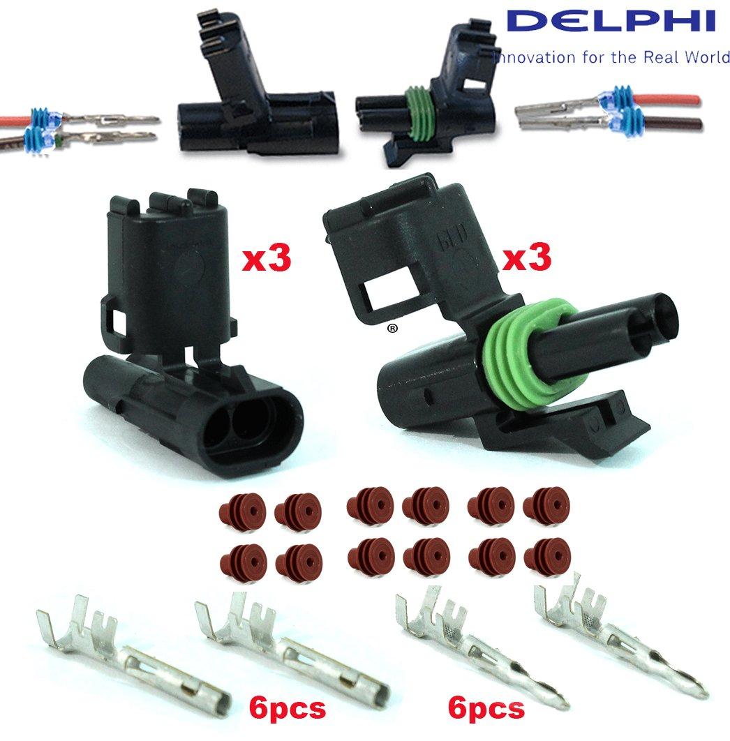 Delphi Packard (2 Circuits) Weatherpack, Waterproof, Terminal Kit 18, 20 GA (Pack of 3 Set)