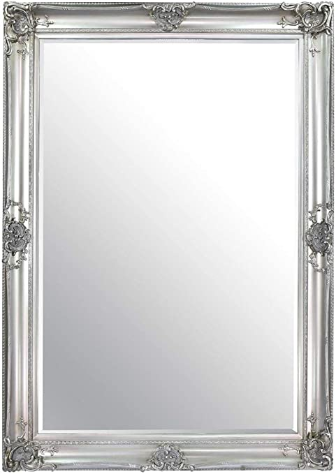 Beautiful Large Silver Decorative Ornate Wall Mirror 7ft X 5ft 213 X 152cm Amazon Co Uk Kitchen Home