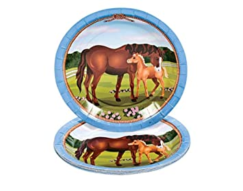 8 Small Mare and Foal Horse Paper Plates   Disposable Paper Party ...