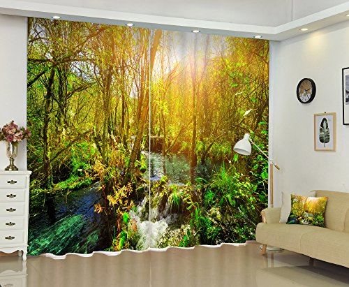 w Curtains Drapes by, Nature Landscape Theme Home Decorations for Bedrooms and Living Room, Creek Across Autumn Woods Picture, Green Blue, 2 Panels Set,84W X 63L Inches (Camo Window Blind)