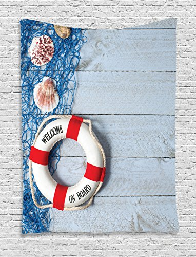 Ambesonne Buoy Tapestry, Welcome on Board Message on Lifebuoy with Fishing Net Seashell Wood Floor of Boat, Wall Hanging for Bedroom Living Room Dorm, 40 W X 60 L Inches, Dust Blue ()