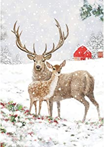 Custom Decor Deer Pair - Garden Size, Decorative Double Sided, Trademarked, Licensed and Copyrighted Flag - Printed in The USA Inc. - 12 Inch X 18 Inch Approx. Size