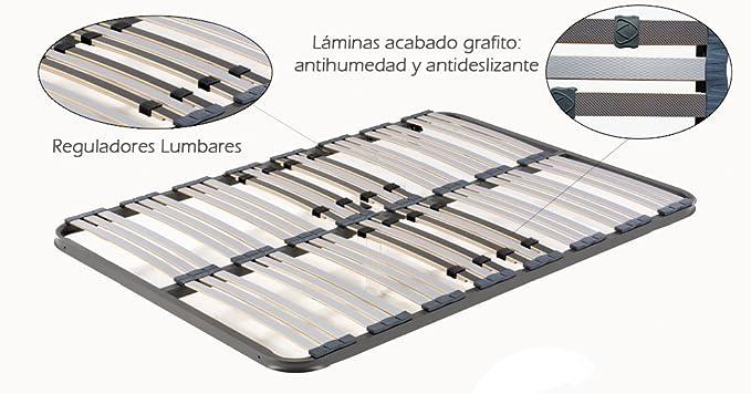 HOGAR24 ES Somier Multiláminas con Reguladores Lumbares, Sin Patas, Acero, 90x190cm: Amazon.es: Hogar
