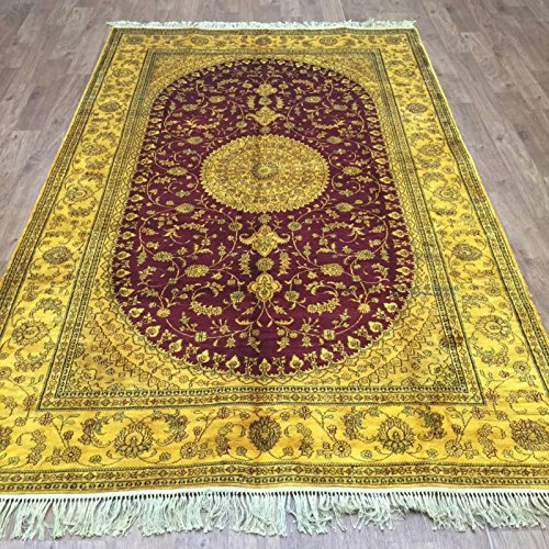 (5x8 Living Room Decorative Persian Hereke Hand Knotted Rugs Old Gold Area Carpet)