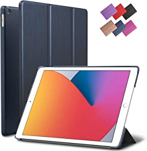 iPad 10.2-inch 2019 2020 Case, ROARTZ Metallic Navy Blue Slim Smart Rubber Folio Hard Cover Light Trifold Wake Sleep For Apple 7th 8th generation Latest Model A2197 A2198 A2200 A2270 A2428 A2429 A2430