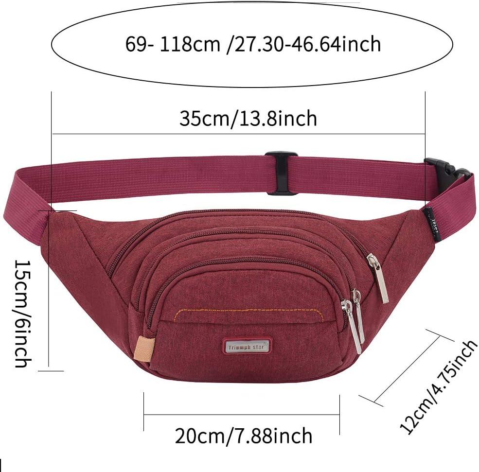Marsupio Sportivo Uomo Donna Doggy Bag Outdoor Impermeabile con 4 Zip Cintura Regolabile