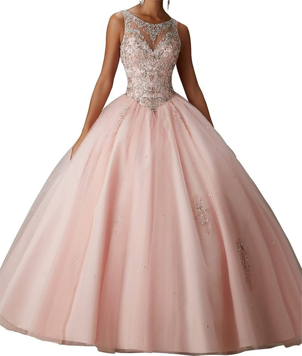Beautyprom Women's Ball Gown Jewel Neck Tulle Quinceanera Dress Prom Dress
