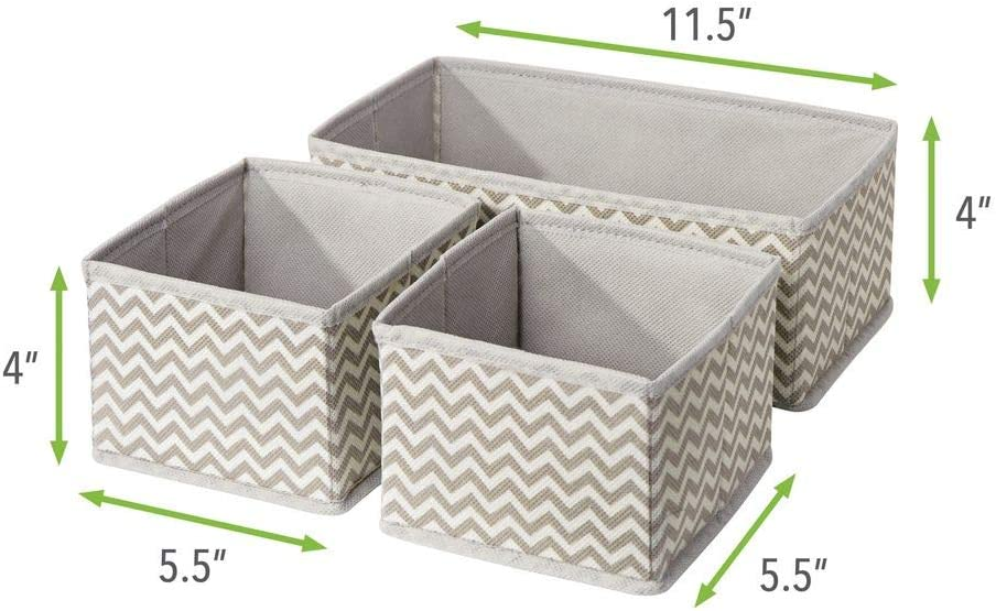 Bedroom Nursery Playroom Organizing Bins in 2 Sizes Taupe//Natural Set of 12 Chevron Zig-Zag Print mDesign Soft Fabric Dresser Drawer and Closet Storage Organizer for Kids//Toddler Room