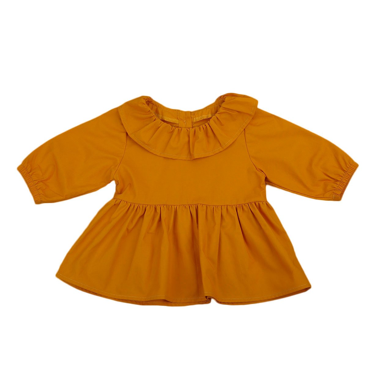 Cute Baby Blouses Lotus Round Neck Girls Button Tutu Dress Shirt Outfit Clothes