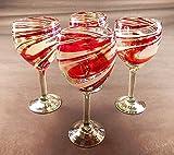 Wine Glasses, Hand Blown, Red White Swirl 12 Oz (Set of 4)