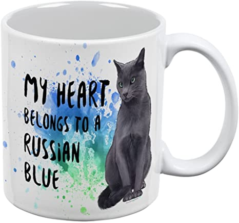 Amazon Com My Heart Belongs Russian Blue Cat White All Over Coffee Mug Kitchen Dining