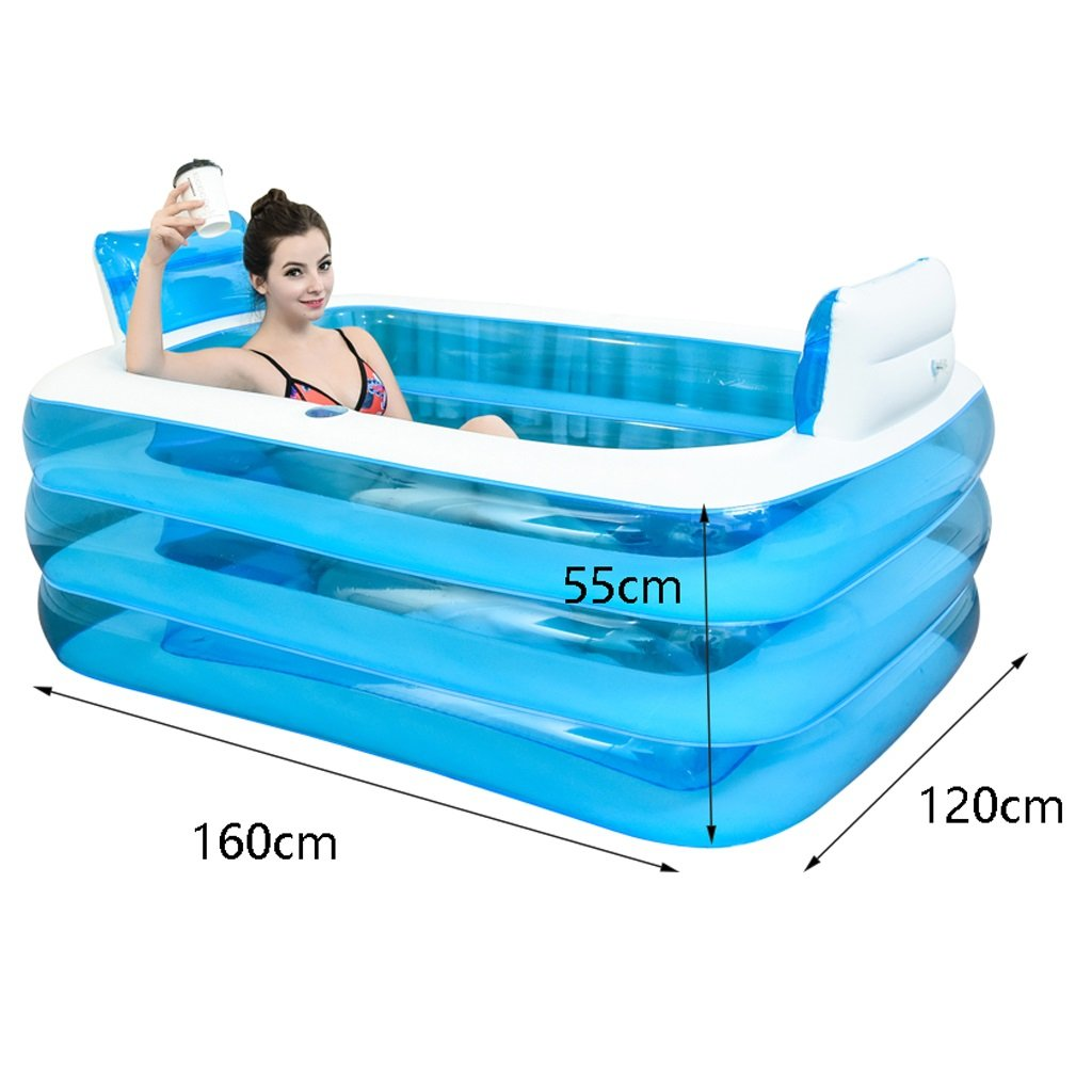 Blue Adult Portable Folding Inflatable Bathtub comfortable soaking ...