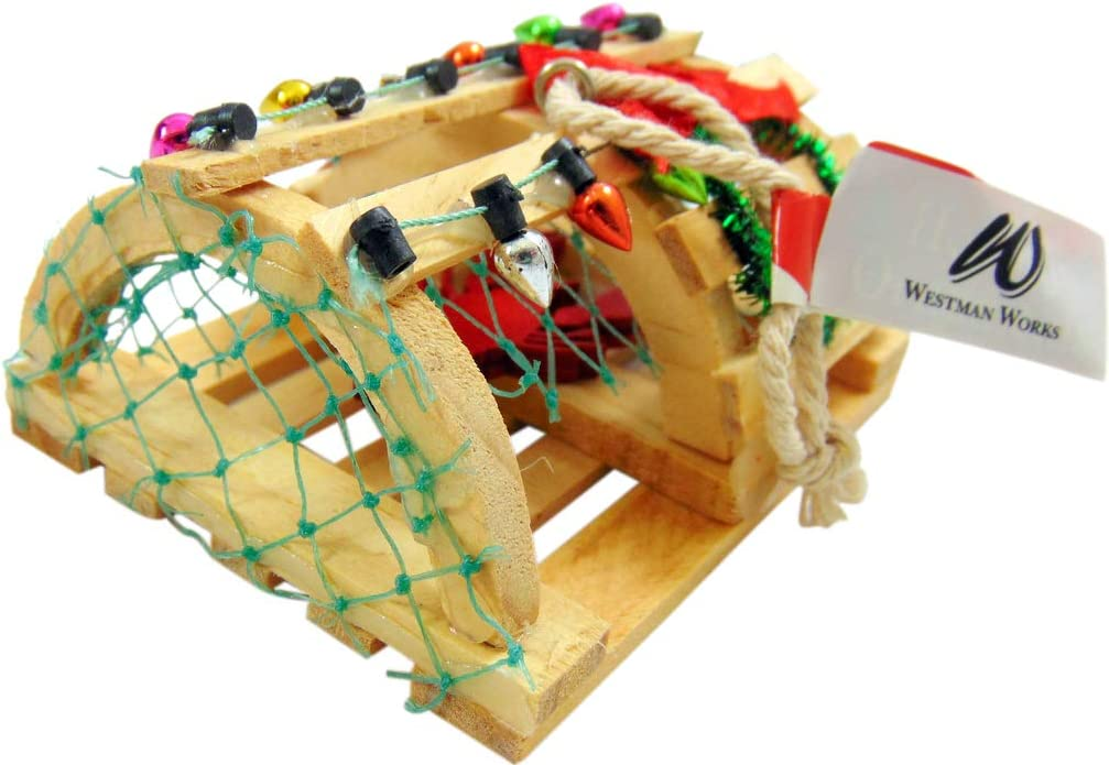 Lobster Trap Ornament Wooden Christmas Tree Decoration Nautical Decor, 3 1/2 Inches Long