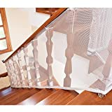 Asoner Child Safety Net, Balcony, Patios and Railing Stairs Netting, Safe Rail Net for Kids/Pet/Toy, Sturdy Mesh Fabric Material, 9.8 ft White Color