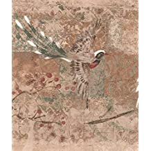 Japanese Sakura Cherry Beautiful Birds Abstract Wallpaper Border Paint by Design, Roll 15' x 9''