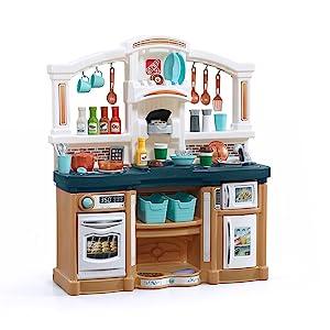Step2 Fun with Friends Kids Play Kitchen, Tan/Blue