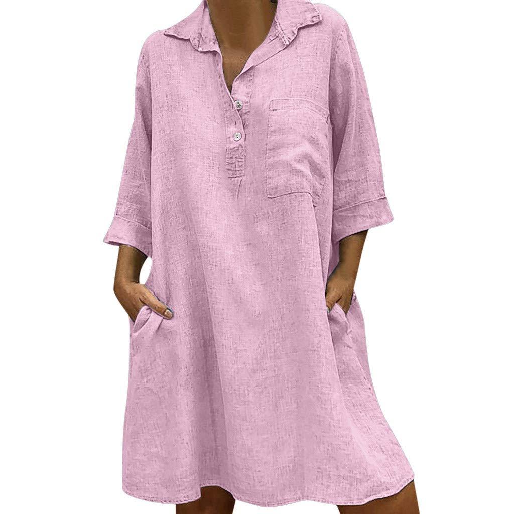 Goosuny Damen Leinenkleid Sommer Baggy Blusenkleider 3/4 Ärmel Lässig Strandkleider Schöne Sommerkleider Mit Tasche Lose Shirtkleider