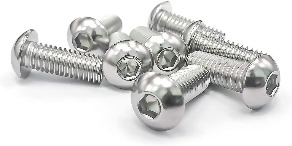 Bright Finish, 20 PCS by Eastlo Fastener 304 Stainless Steel 18-8 Fully Machine Thread 3//8-16x 1//2 Button Head Socket Cap Bolts Screws