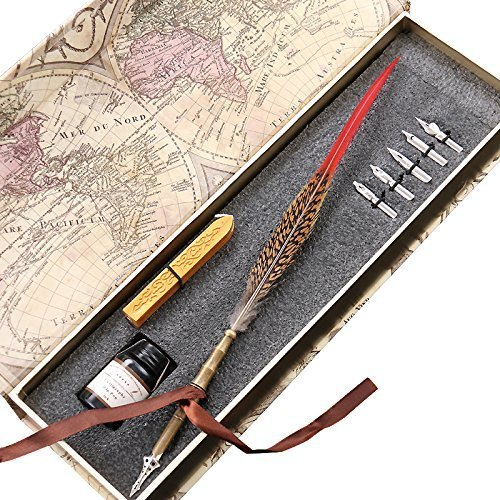 Retro-Feather-Copper-Pen-Stem-Metal-Nibbed-Pen-Writing-Quill-LL-13-by-GC-Writing-Quill