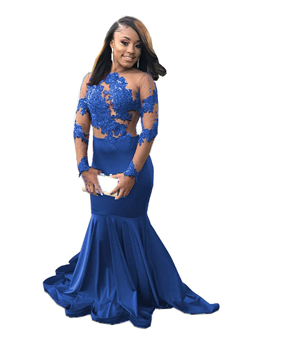 bluee MariRobe Women's Mermaid Lace Applique Prom Dresses Illusion Long Sleeves Formal Gowns