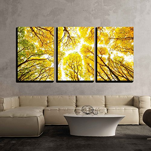 wall26 - 3 Piece Canvas Wall Art - Autumn Trees Pattern - Modern Home Decor Stretched and Framed Ready to Hang - 24