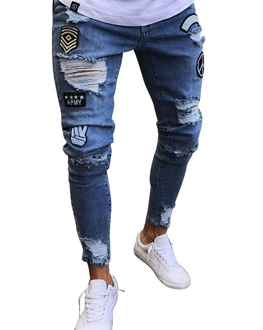 db27ff9f045b Jeans con Toppe Uomo Elasticizzato Slim Fit Pantaloni Strappati Azzurro  Chiaro 2XL