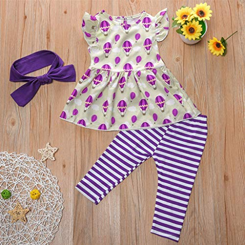 NUWFOR Newborn Kid Baby Girls Short Sleeve Print Tops+Stripe Pants Outfits Set(Purple,4-5 Years) by NUWFOR (Image #1)