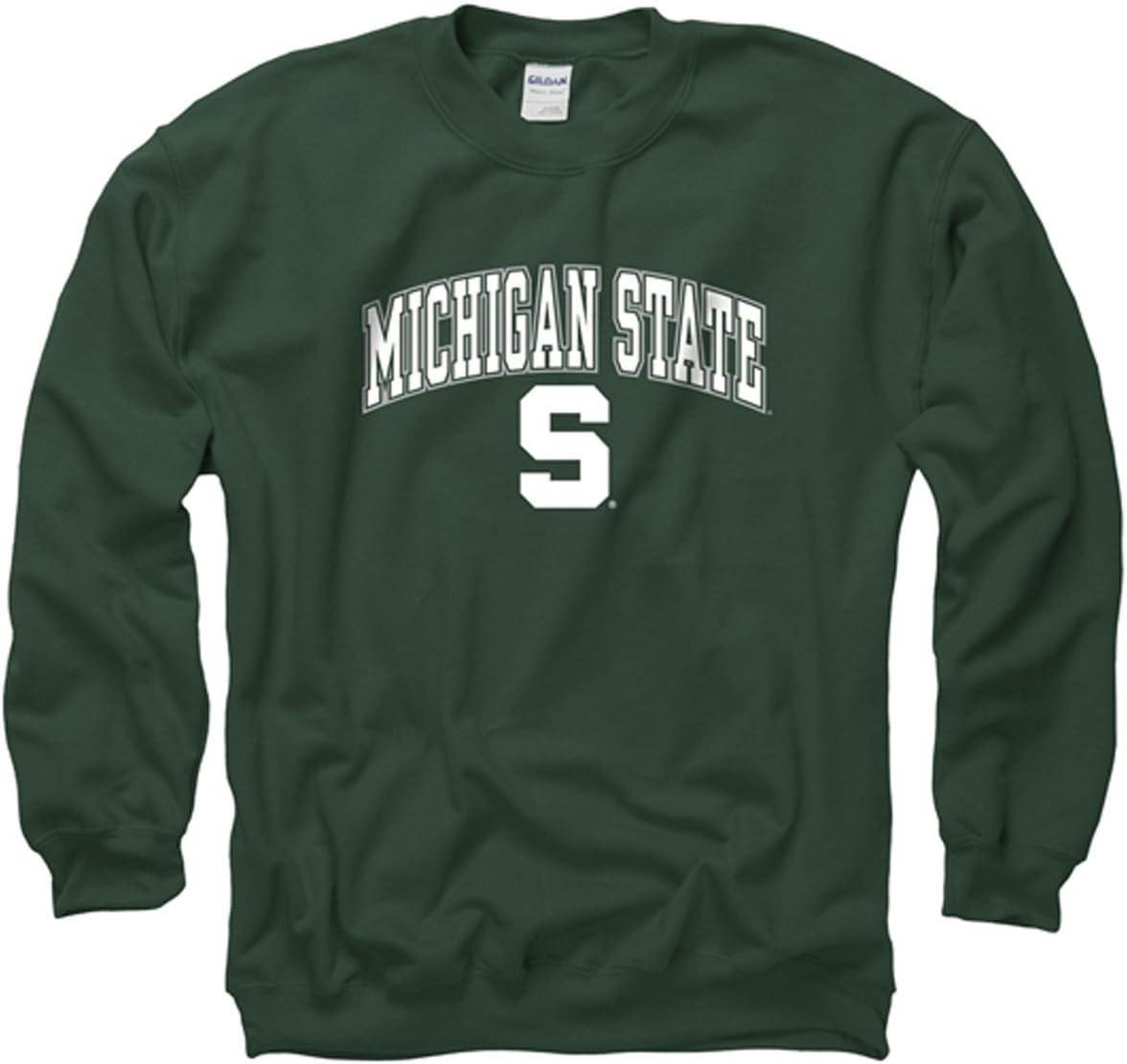 Campus Colors Campus Farben Michigan State Spartans Erwachsenen Arch /& Logo Gameday Crewneck Sweatshirt Gr/ün,
