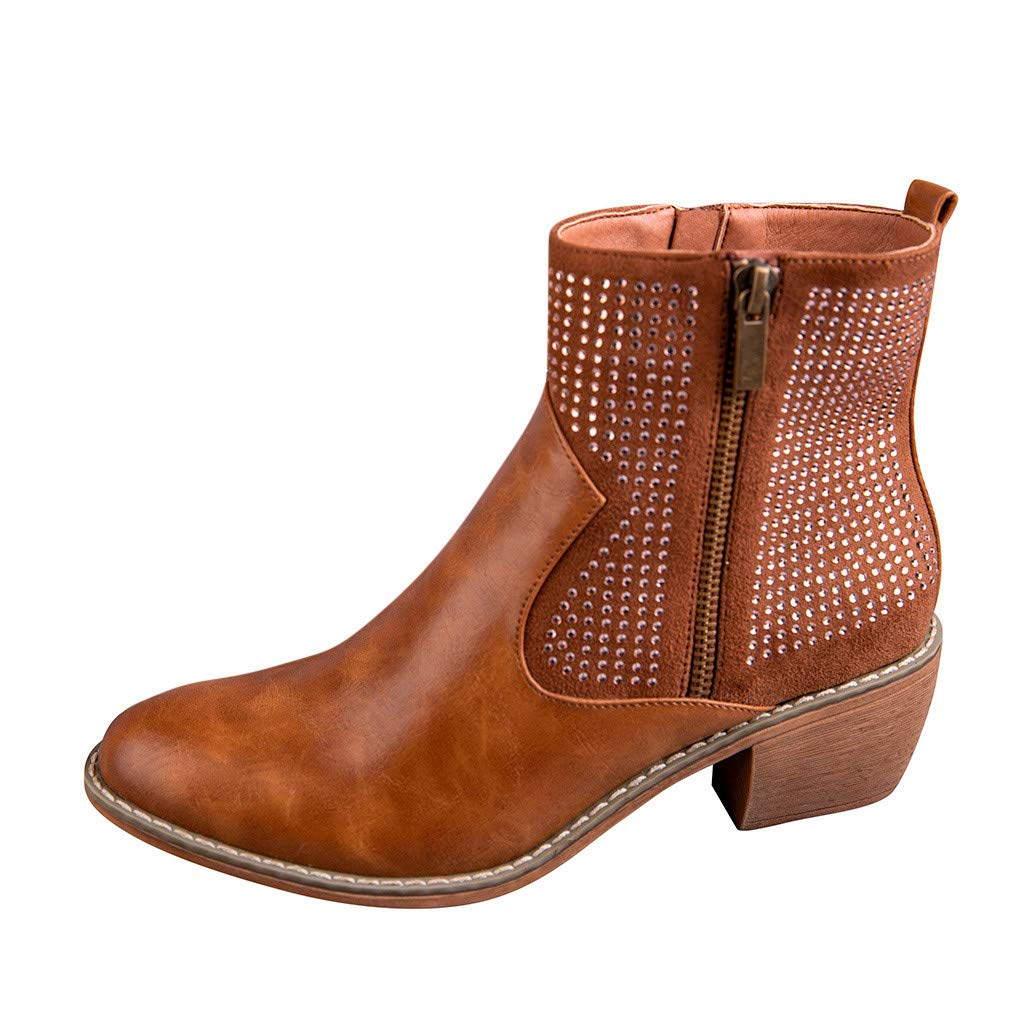 Frunalte High Boots for Women,Fashion Belt Buckle Boots Student Casual Middle Tube Large Size Mid Calf Leather Boots Brown by Frunalte Women Shoes