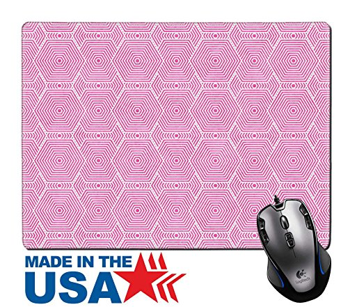 "Tile Edge Linen (MSD Natural Rubber Mouse Pad/Mat with Stitched Edges 9.8"" x 7.9"" Pink and White Hexagon Tiles Pattern Repeat Background that is seamless and repeats IMAGE 30617659)"