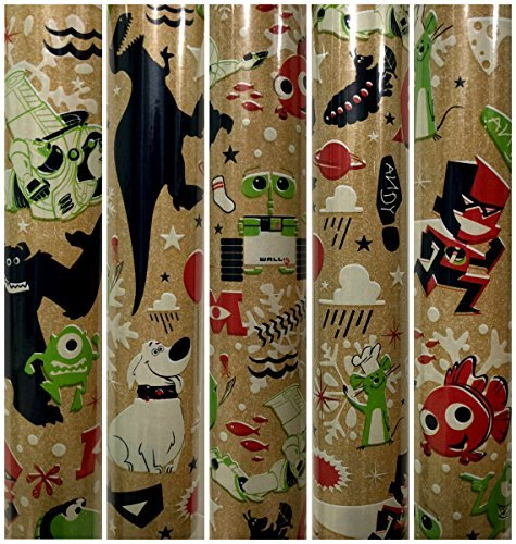 (Classic Vintage style Disney Pixar Characters Christmas Gift Wrapping Paper 40 sq ft 1 Roll)