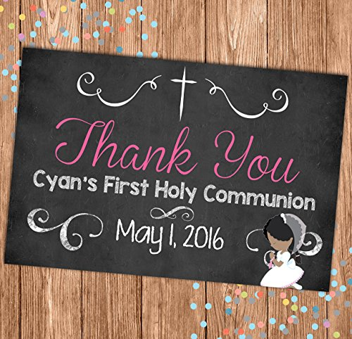 - Communion Thank You Card - Flat Thank You Note - Religious - Cross - First Holy Communion - 4x6