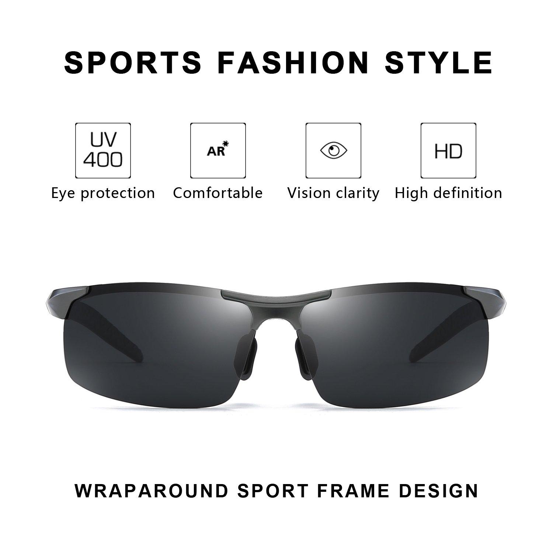 0b47719c9f Myiaur Gafas de sol polarizadas para hombre de los deportes de la moda para  la conducción/la pesca al aire libre 100% protección UVA UVB (Gris/Gris):  ...