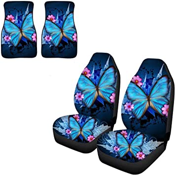 Amazon Com Afpanqz Blue Butterfly Car Seat Covers For Front Seats
