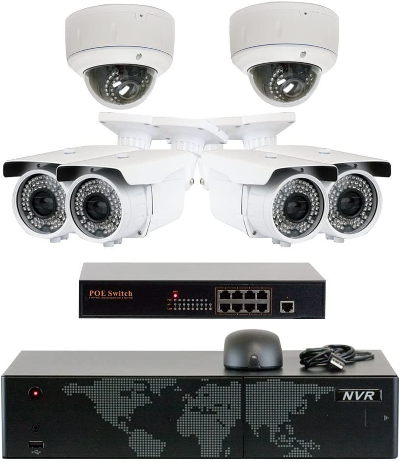 5MP 2592x1920p 8 Channel 4K NVR Network PoE IP Security Camera System – HD 5MP 1920p 2.8 12mm Varifocal Zoom 4 Bullet and 2 Dome IP Camera – 5 Megapixel 3,000,000 More Pixels Than 1080P