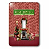 3dRose Beverly Turner Christmas Design - Christmas Room, Fireplace, Tree, Toys, Merry Christmas - Light Switch Covers - single toggle switch (lsp_267929_1)