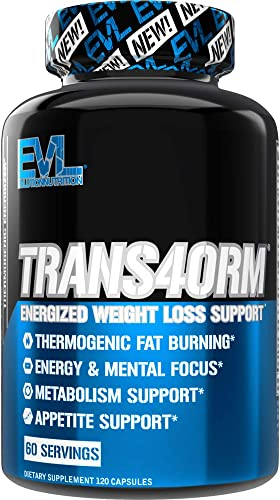 Evlution Nutrition Trans4orm – Complete Thermogenic Fat Burner for Weight Loss, Clean Energy and Focus with No Crash, Boost Metabolism, Suppress Appetite, Diet Pills, 60 Servings
