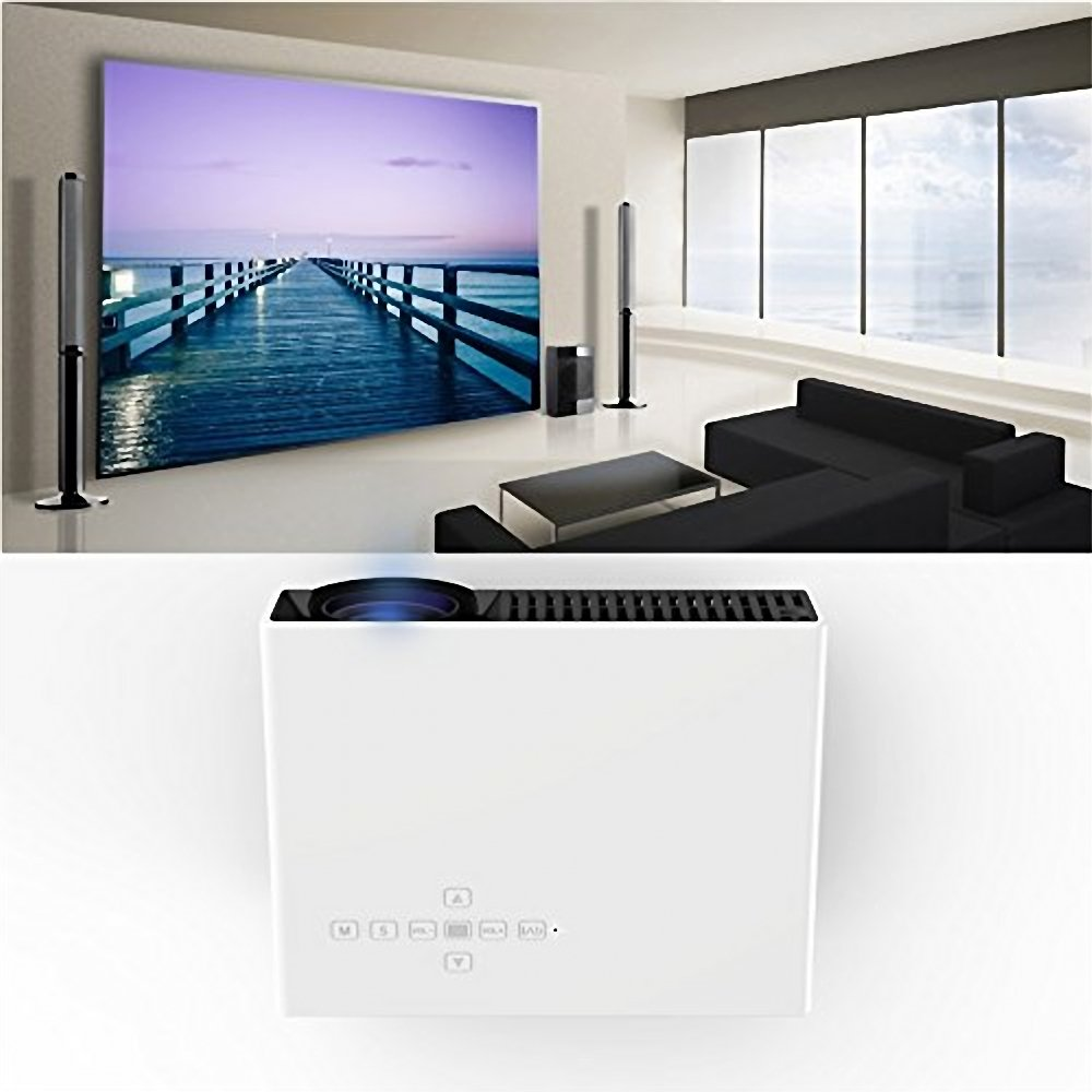 Uniway PRW330 Android 4.42 OS Video Portable Projector High-tech Mini Projector 1080P High Resolution Home Projector with Double HDMI Ports-White